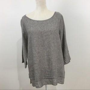 Chalet Anthropologie linen gray tunic medium